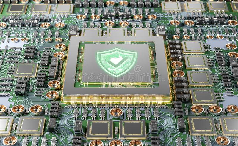 Close-up view of a modern GPU card with shield protection 3D rendering. Close-up view of a modern GPU card circuit with cyber security activated 3D rendering vector illustration