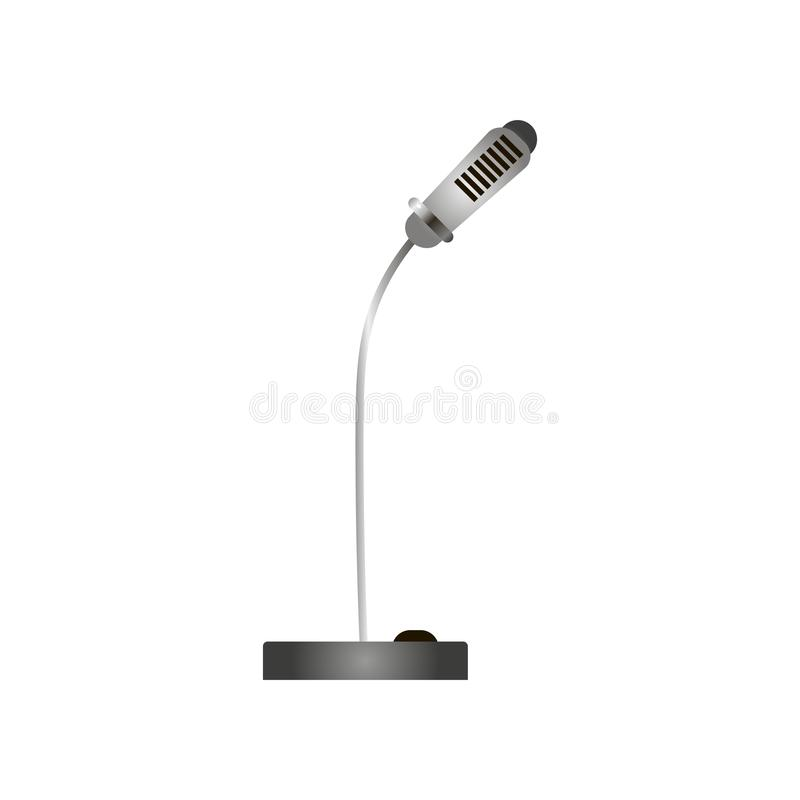 Close-up view of modern news, stage, computer flexible microphone omnidirectional, dynamical isolated over white stock illustration