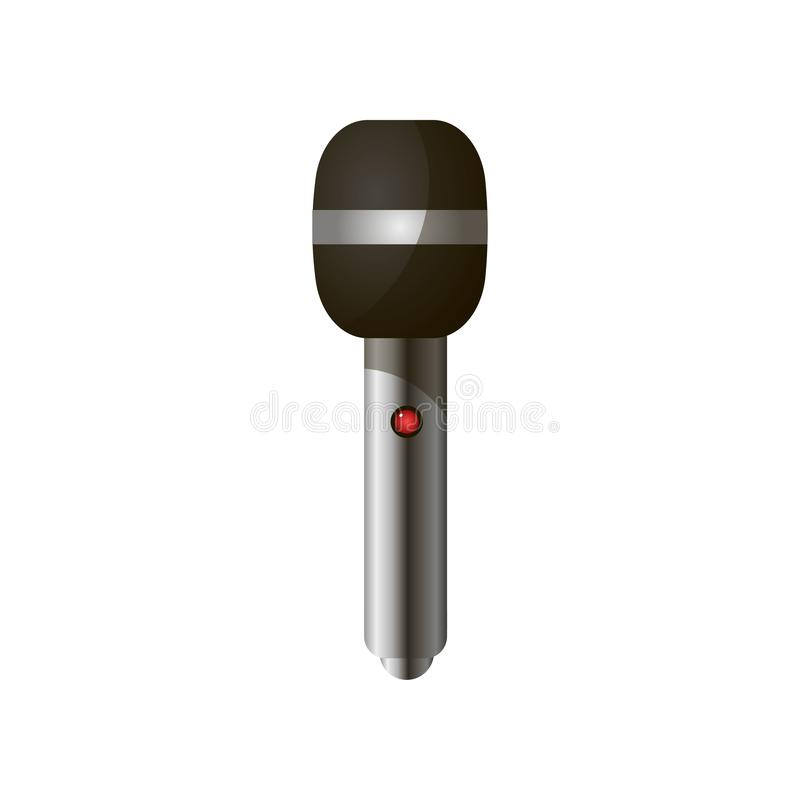 Close-up view of modern news, vocal microphone with black head and silver handle royalty free illustration