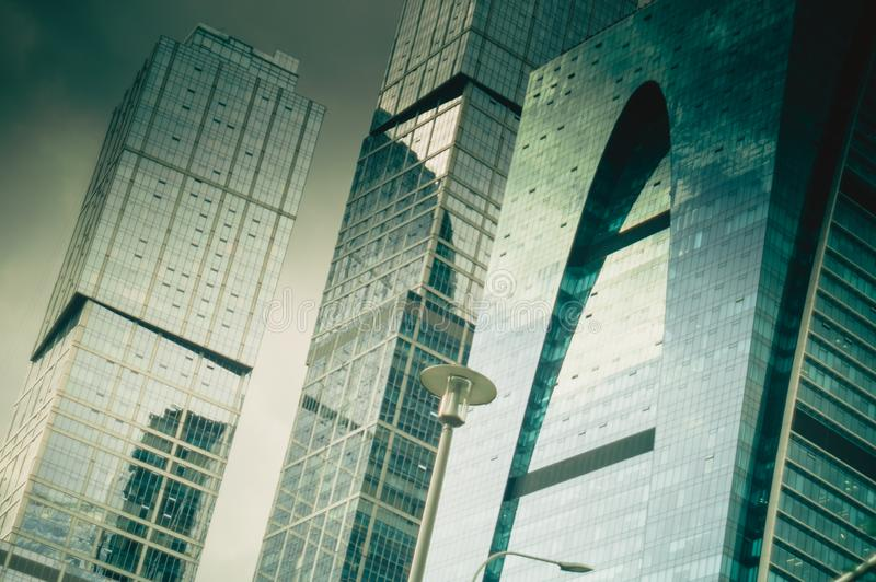 Close up view of modern office building royalty free stock photo