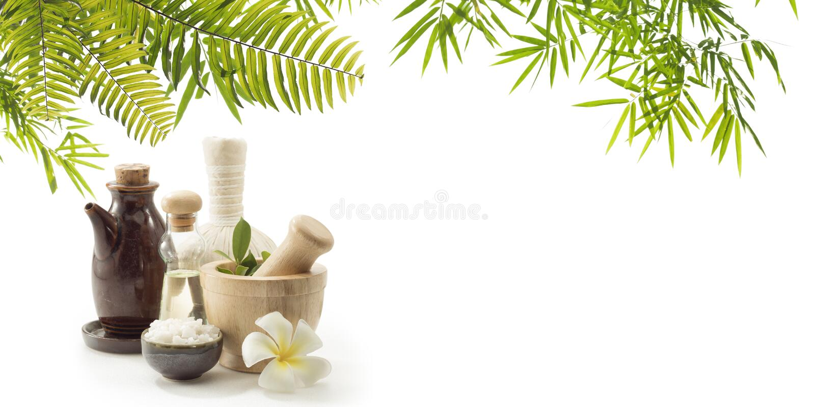 oil and Herbal Compress on white back. banner stock image