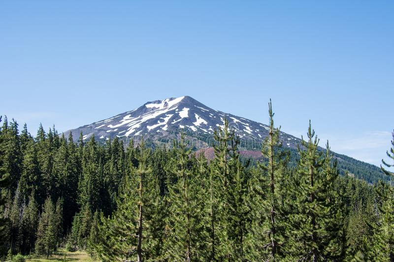Close up view of Mt Bachelor in the summer in Bend Oregon on a sunny day. stock photos