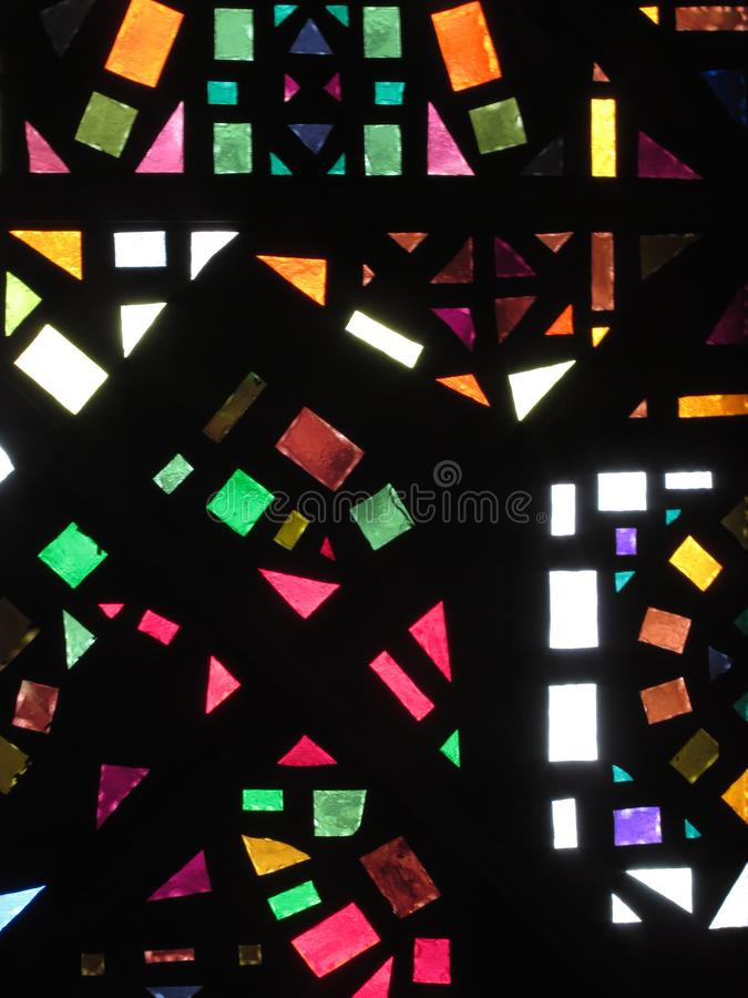 Stained glass ceiling of a building stock images