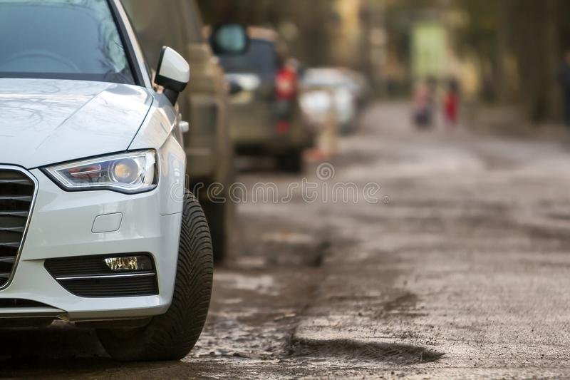 Close-up view of a new modern car parked on the side of the street stock photo