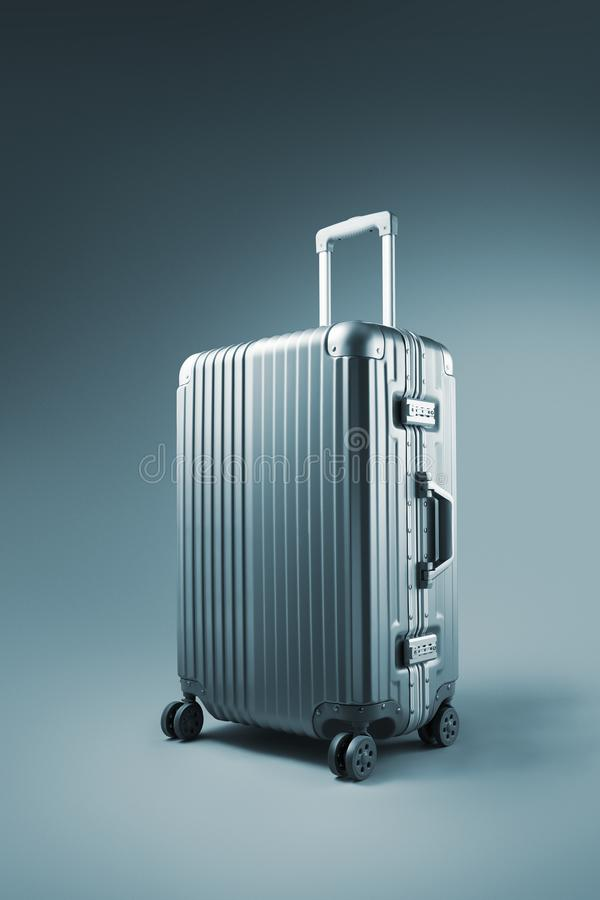suitcase on blue background royalty free stock images
