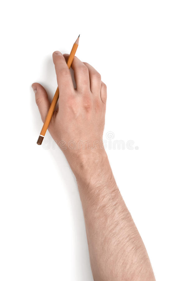 Free Close Up View Of Man S Hand Holding Pencil Isolated On White Background Royalty Free Stock Photos - 76857108