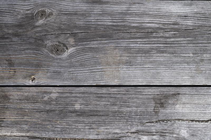 Close up view of old grey board plank from a bench. Texture, background royalty free stock image
