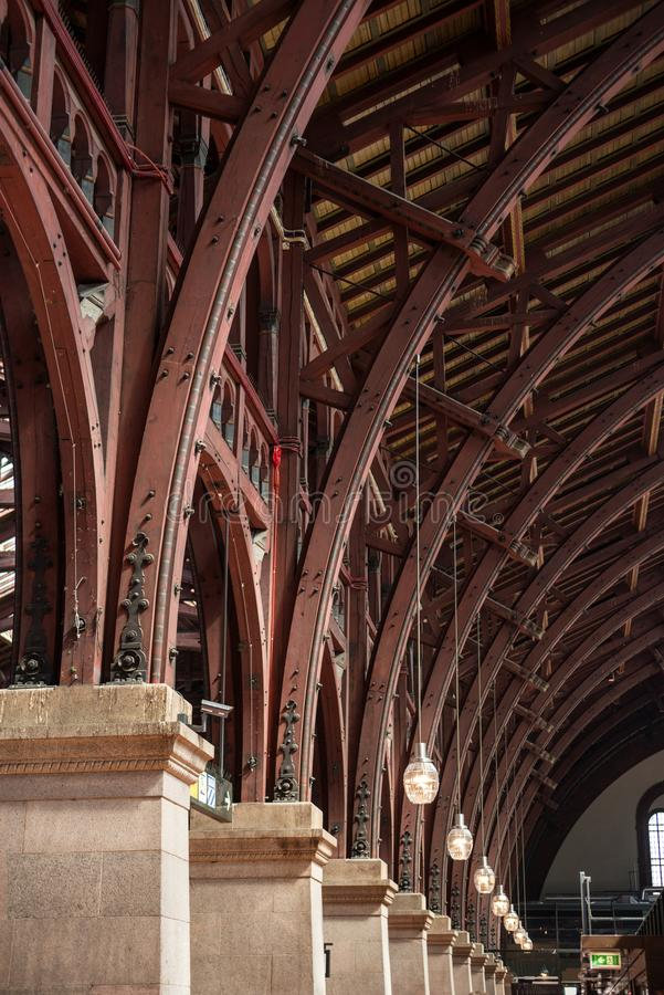 close up view of old vintage roof structure at train station stock images