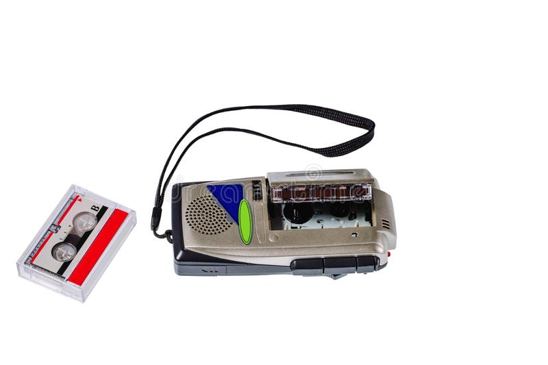 Close up view of old voice recorder and tape isolated. Old technology backgrounds.  stock photo