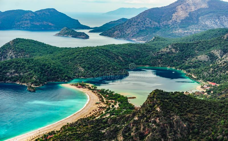 Panoramic view of Oludeniz Beach and bay, Fethiye,  Mugla, Turkey. Aerial Photo from Lycian way. Summer and holiday concept. royalty free stock images