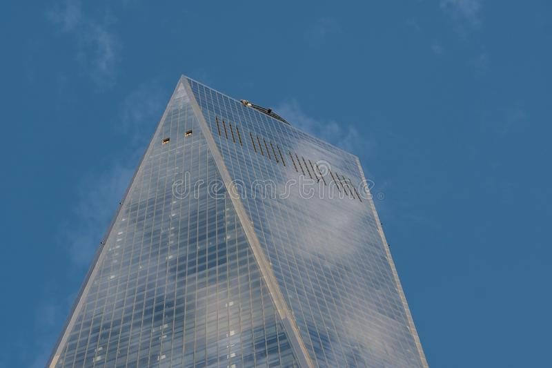 Close-up view of One World Trade Center in Financial District Lower Manhattan New York City. New York City - USA - Mar 11 2019: Close-up view of One World Trade royalty free stock photography