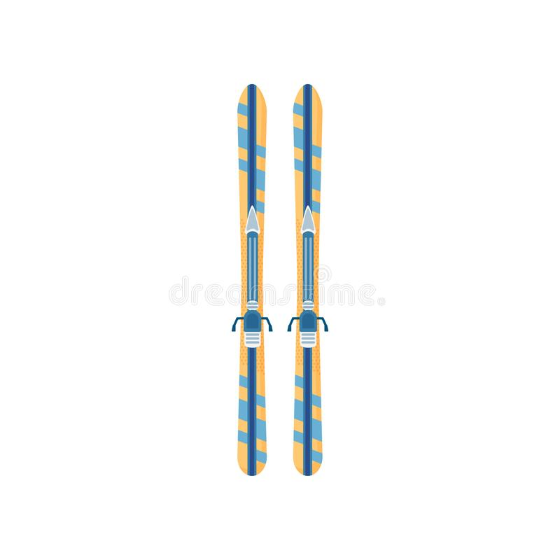 Close-up view of a pair of skis on a white background stock illustration