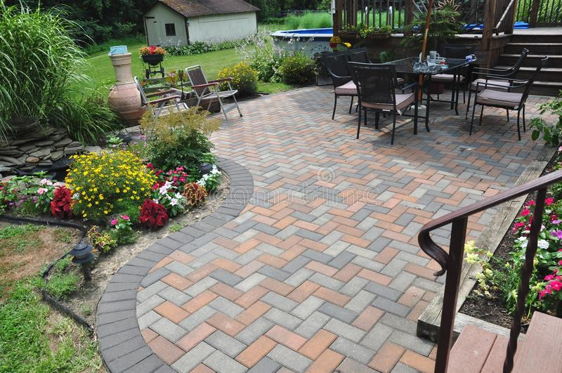 Patio design and Garden flowers stock images