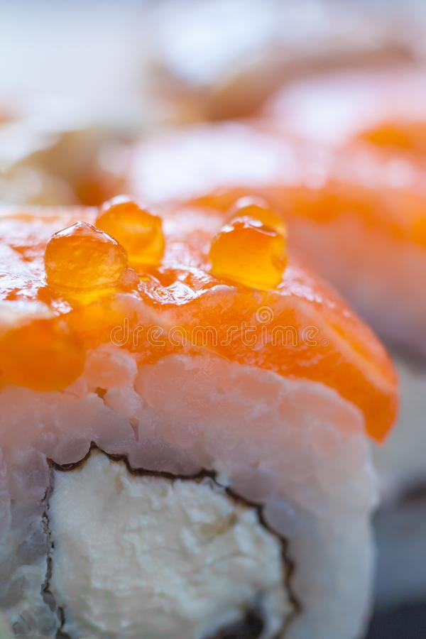 Close up view of a Philadelphia roll sushi stock photos