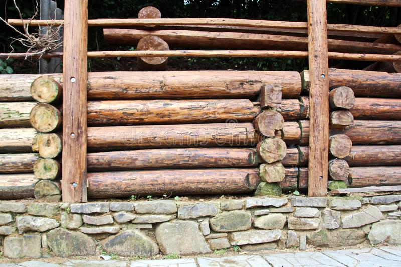 A close-up view of pine logs stacked horizontally and the structure of a tree cut with concentric rings. stock images