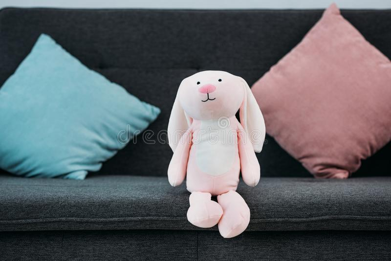 close up view of pink childish toy on sofa royalty free stock images