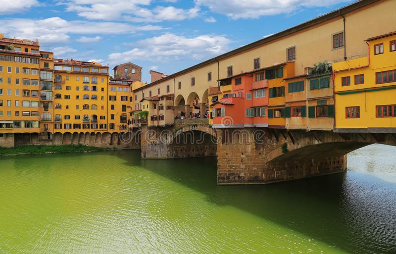 Close up view of Ponte Vecchio bridge in Florence, Italy royalty free stock photography