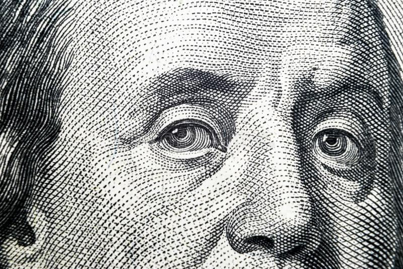 Close up view Portrait of Benjamin Franklin on the one hundred dollar bill. Background of the money. 100 dollar bill with Benjamin stock images