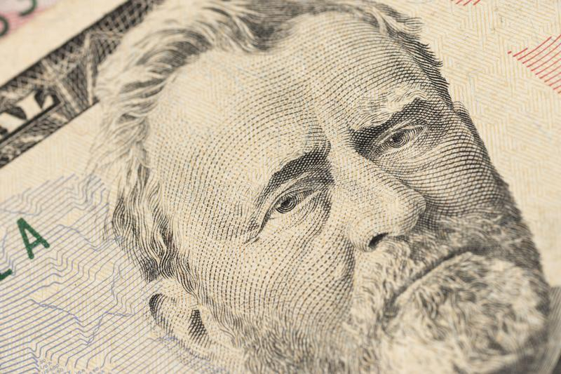 Close up view Portrait of Ulysses S. Grant on the one fifty dollar bill. Background of the money. royalty free stock photos