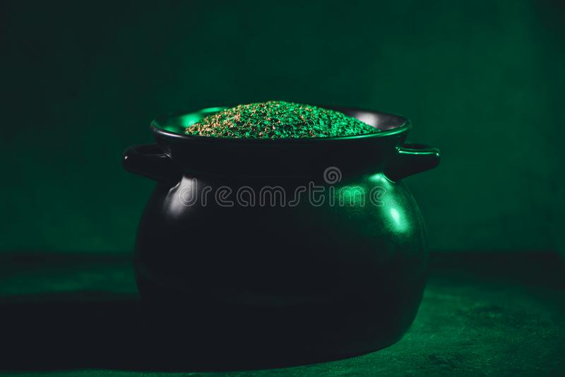 Close-up view of pot full of gold, saint patricks. Day concept stock images