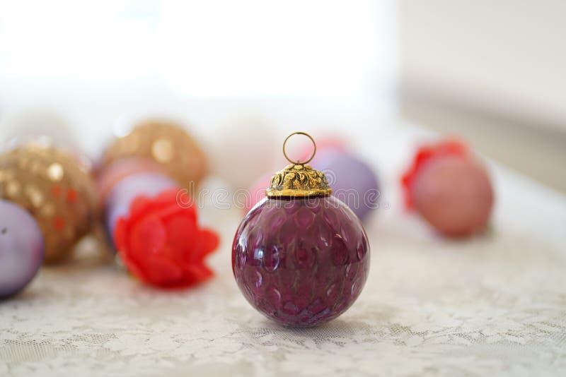 Close Up View Of Purple Glass Christmas Ball stock photo