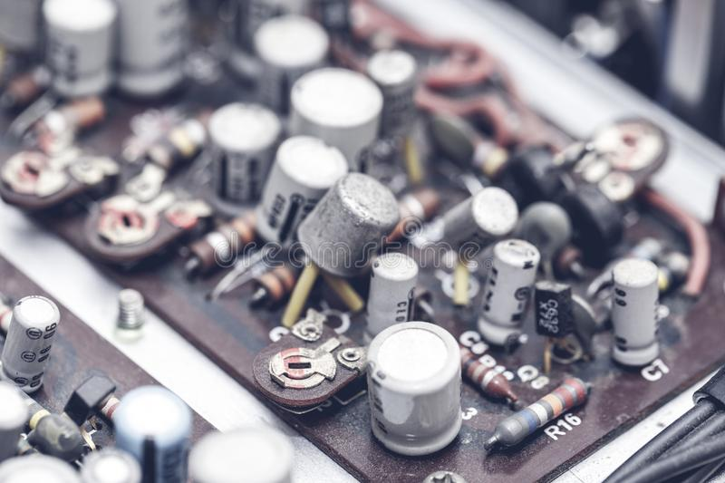 Board with radio components stock photography