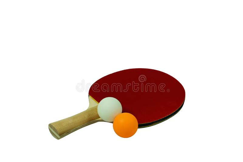Close up view of red racket for table tennis with orange and white balls isolated. Ping pong game concept. stock photo