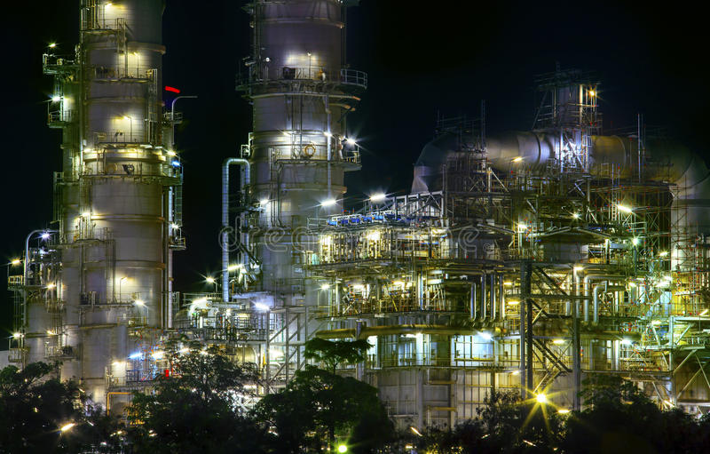 Close up view of refinery oil plant in heavy industry estate use. For petrochemical industrial business and fuel manufacturing topic stock images