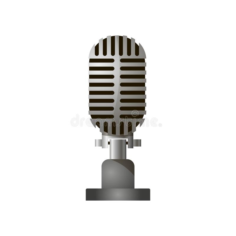 Close up view of retro stylish acoustic gray microphone isolated against a white background. vector illustration