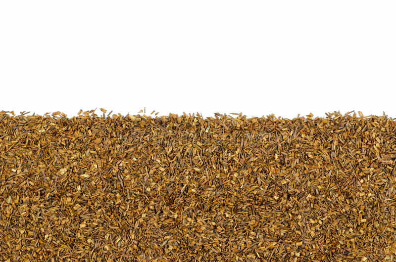 A close-up view of Rooibos tea area isolated on white background with place royalty free stock photo