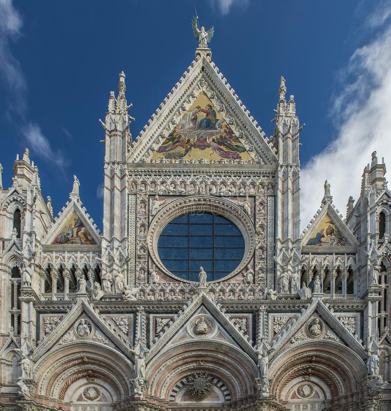 Close up view of Santa Maria catedral in siena royalty free stock photography