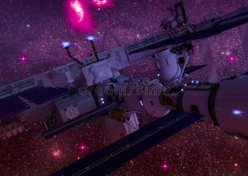 Close-up view of a Sci-fi space station in the outer space. vector illustration