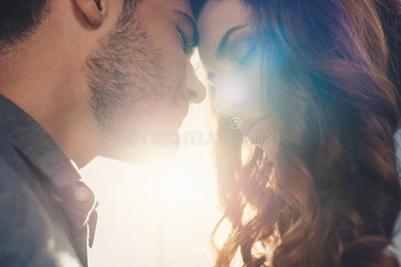 close up view of sensual couple in love standing head royalty free stock images