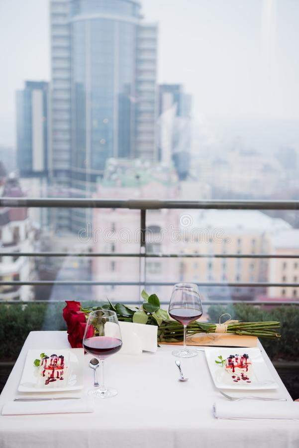 Close up view of served table for romantic date. In restaurant stock photos