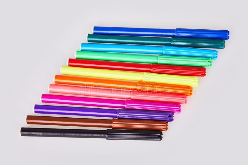 Close-up view of set of colorful felt tip pens isolated on white background. royalty free stock photos