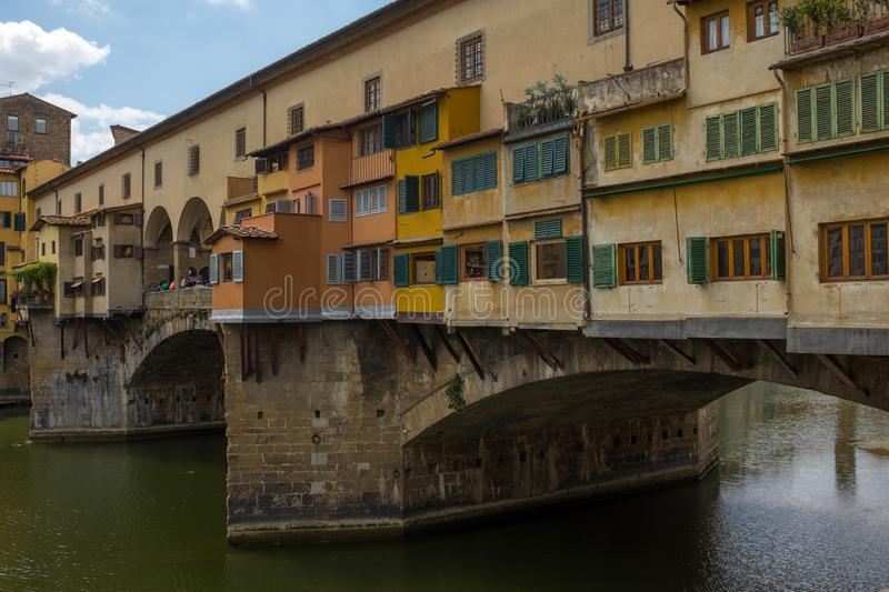 A close up view from the side of the famous Ponte Vecchio, this bridge that crosses the River Arno in Florence was the royalty free stock photography