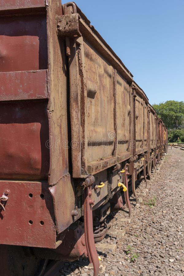 A Old Carrage. A close up view of the side of old railway carrage royalty free stock photos