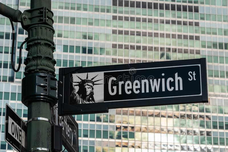 Close-up view of Signs of Greenwich Street and Maiden Lane in Financial District Lower Manhattan New York City royalty free stock image