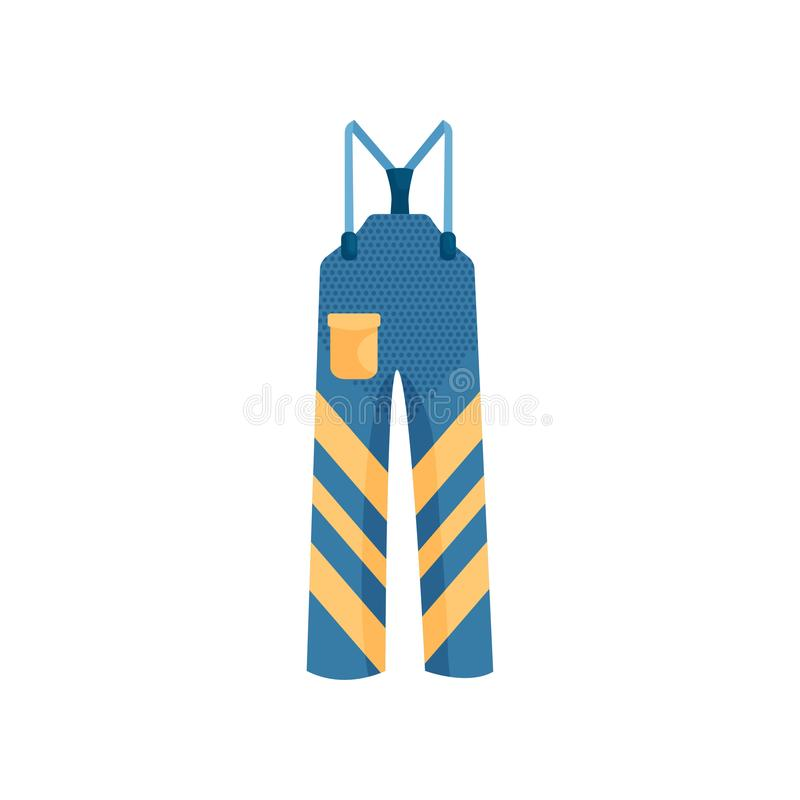 Close-up view of a warm blue ski pants vector illustration