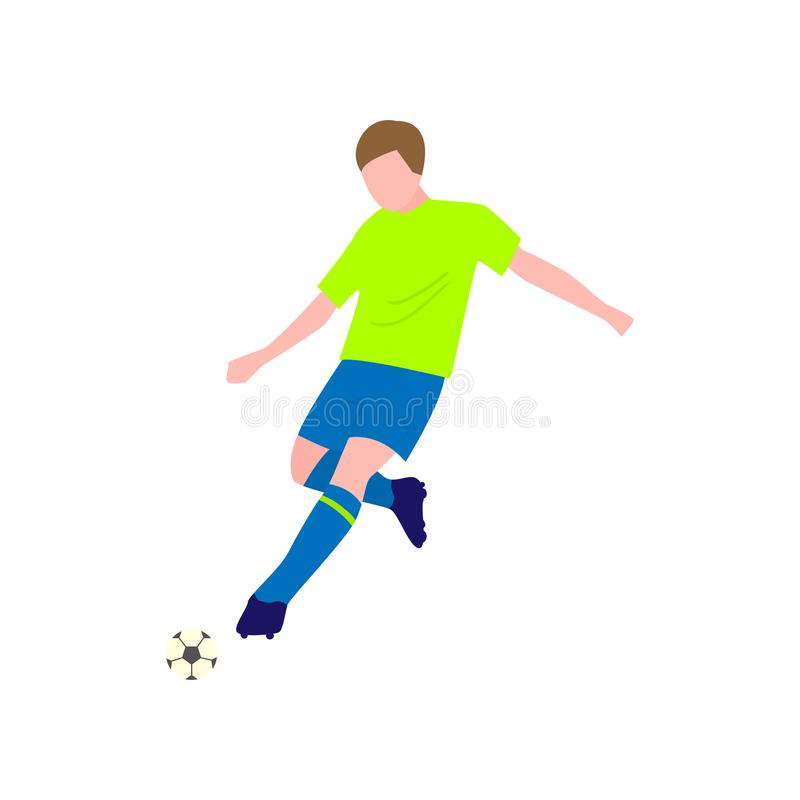 Close-up view of soccer player with the ball on a white background vector illustration