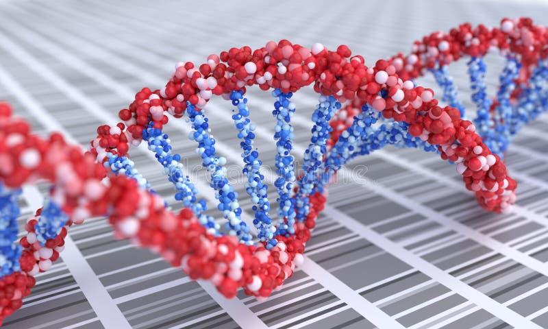 Close up view on spiral DNA molecules. 3D rendered illustration.  vector illustration