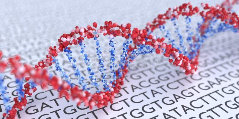 Close up view on spiral DNA molecules. 3D rendered illustration.  stock illustration