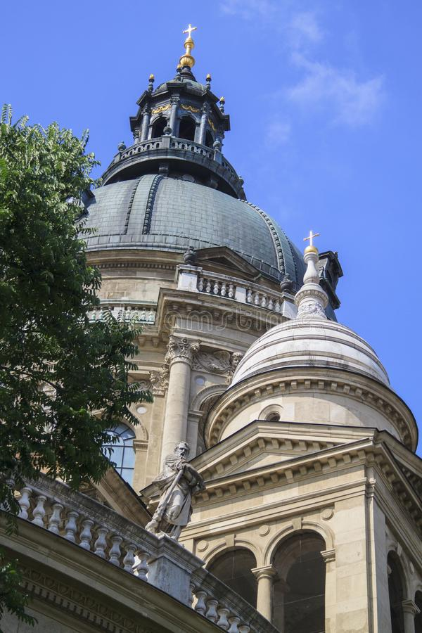 Close up view of St. Stephen& x27;s Basilica in Budapest, Hungary royalty free stock image
