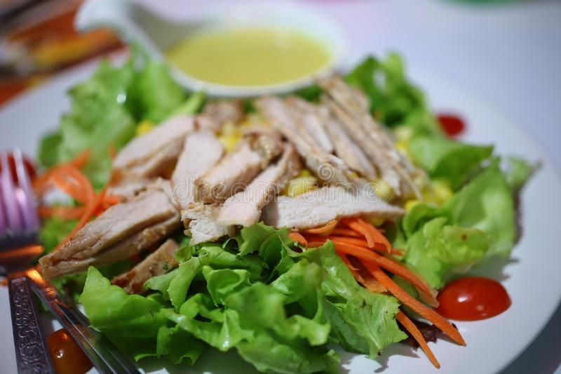 Close-up view, top view, sliced pork with fresh salad vegetables, sweet and delicious salad dressing, healthy food concept royalty free stock images
