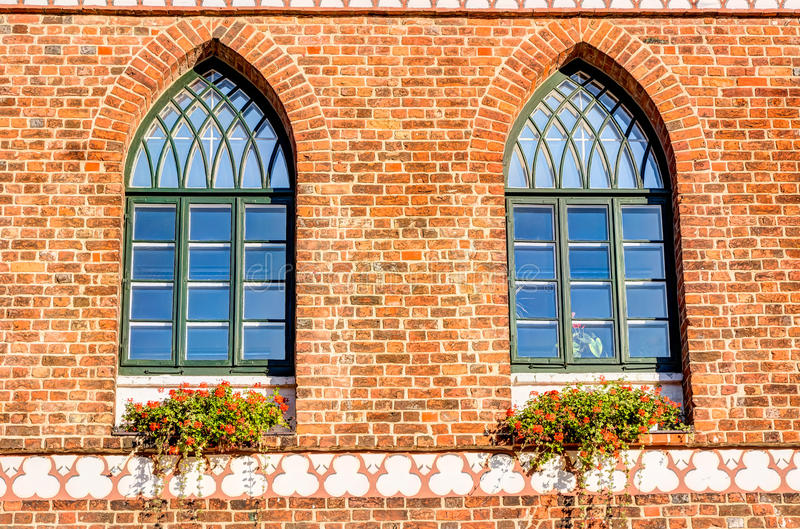 Close-up view of the town hall In Parchim. In Mecklenburg-Vorpommern in Germany stock image