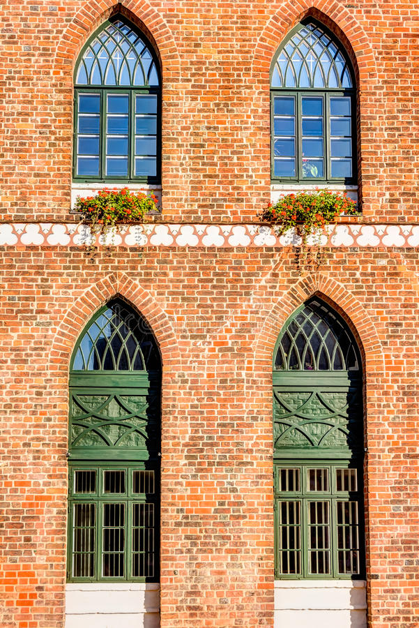 Close-up view of the town hall In Parchim. In Mecklenburg-Vorpommern in Germany stock photography