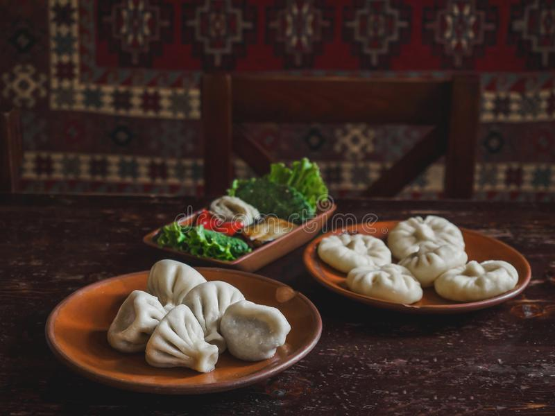 close up view of traditional georgian khinkali stock images
