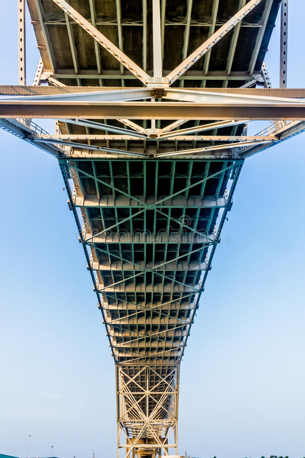 Close up View of the Underside of a Coastal Bowstring Bridge with Clear Skies in Corpus Christi. Intricate Geometric Patterns of Steel and Iron Works of the royalty free stock photo