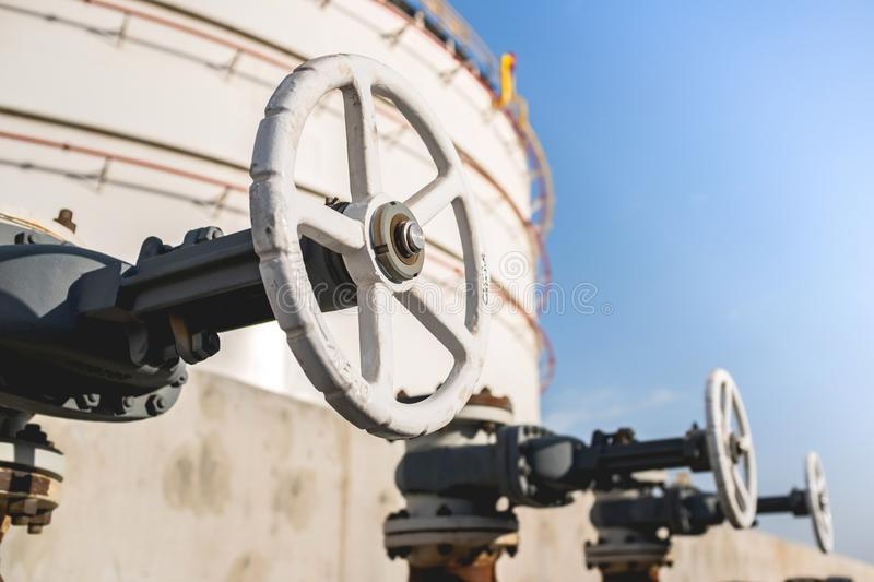 Close Up View Of A Valve At A Petroleum Refinery. Facility royalty free stock photo