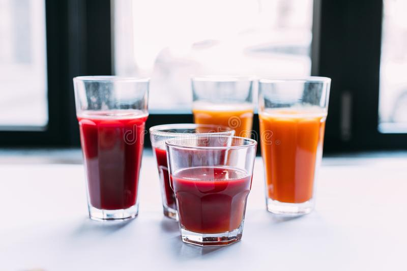 Close-up view of various healthy natural smoothies. In glasses stock images